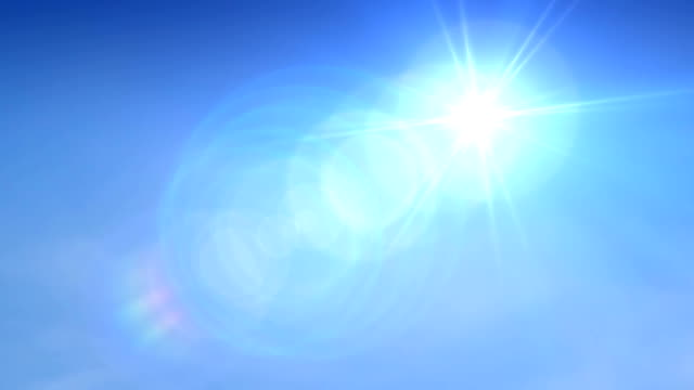 Blue Sky Sun. HD Panning shot of the blazing sun against a blue sky. brightly lit stock videos & royalty-free footage