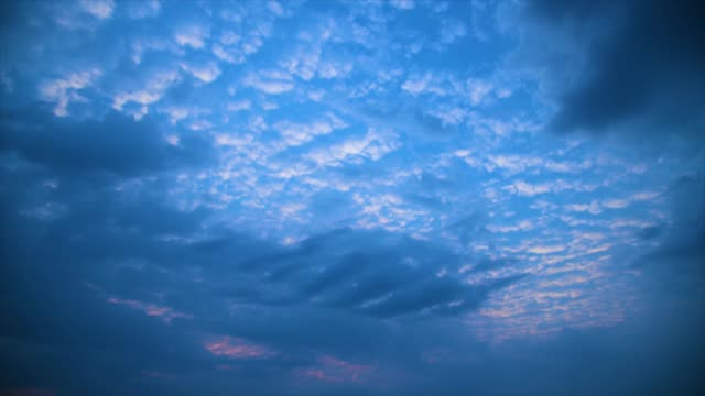 Blue sky white clouds time lapse. Fluffy cloudscape environment climate change background. Abstract natural cloudy weather background.