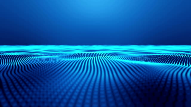 Blue smooth tech wavy background video