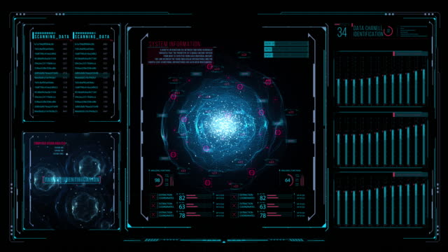 Blue source of energy in a dark background HUD control panel