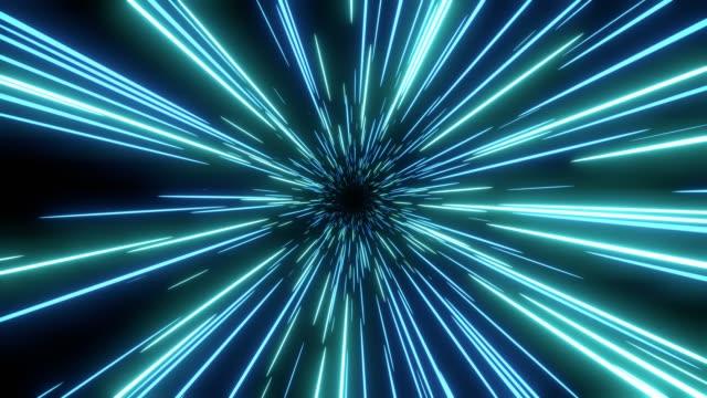 Blauwe snelheid licht abstracte achtergrond. Loop able Sci-fi tunnel achtergrond. video