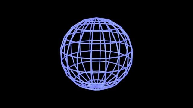 Blue sphere edges rotating video