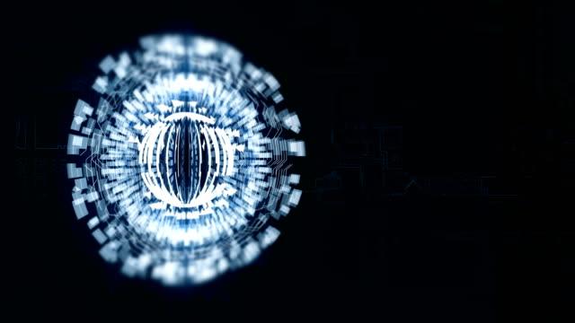 Sphère bleue 3D est en rotation dans l'espace, une planche de charge électrique de fond - Vidéo