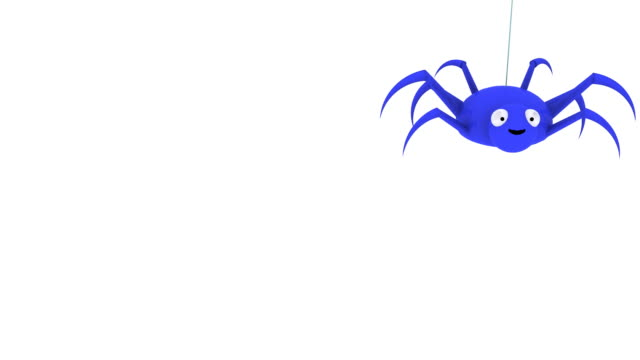 3D Blue Spider Dropping In and Out