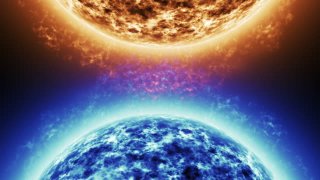 blue star vs red star. red sun surface with solar flares against blue sun isolated on black. highly realistic sun surface with space for your text or logo 4k. - ice on fire video stock e b–roll
