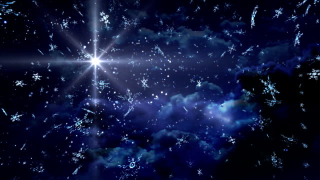 blue Starry Night stay snowflakes video