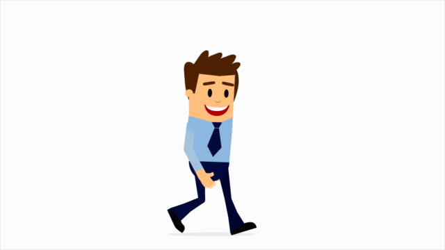 Blue Suit Businessman Walking Flat Cartoon Character Animation. 4K Animation with Alpha Channel.