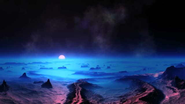 blue sunset on alien planet - fantazja filmów i materiałów b-roll