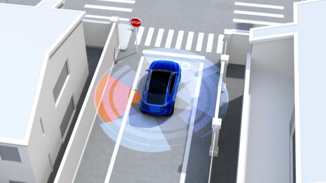 vídeos de stock e filmes b-roll de blue suv in one-way street detected vehicle in the blind spot - ignorância