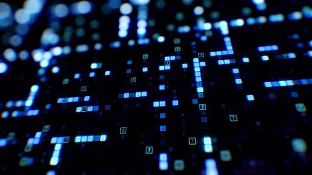 stockvideo's en b-roll-footage met blauwe symbolen van digitale code abstracte invoer proces close-up met dof vervagen bokeh naadloze. lus 3d animatie. futuristische bedrijfsinformatie en virtuele technologie concept. - datacenter