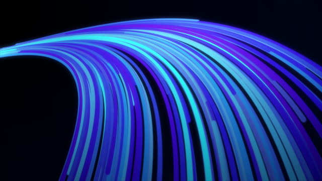 3D blue tail formed by narrow lines flowing on black background. Animtion. Neon colorful rays flow in an arcuate trajectory, bended lines looking like a part of a ring video