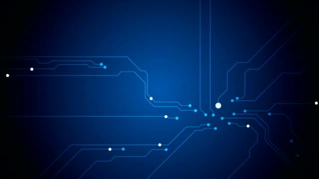 blu tech circuito a bordo di tecnologia video 3d - scheda a circuito video stock e b–roll