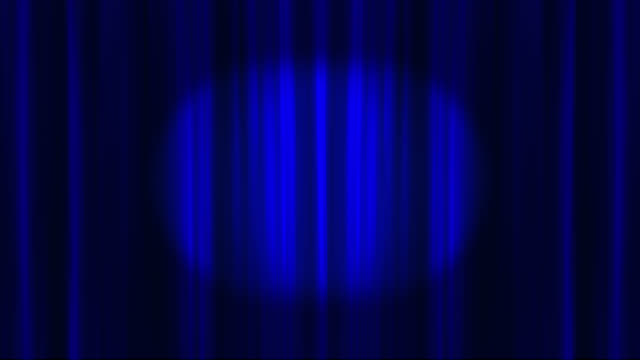 blue theatre curtains opening to reveal an empty space saved with alpha channel - riflettore lenticolare video stock e b–roll