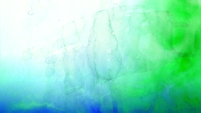 sfondo ad acquerello blu a verde - dipinto ad acquerelli video stock e b–roll