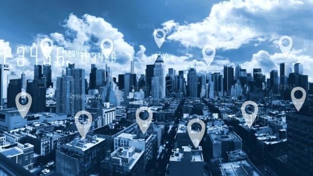 vidéos et rushes de blue tone cityscape et connexions réseau - épingle