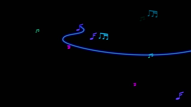 Blue tone Musical Note running animation.  Music Note such as minim,semibreve,semitone with staff line.