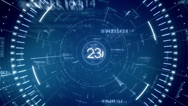 blu tunnel dati del conto alla rovescia di 30 secondi - conto alla rovescia video stock e b–roll