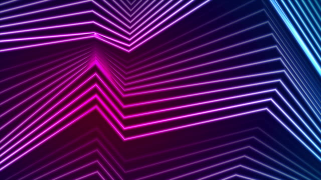 Blue ultraviolet neon curved lines video animation video