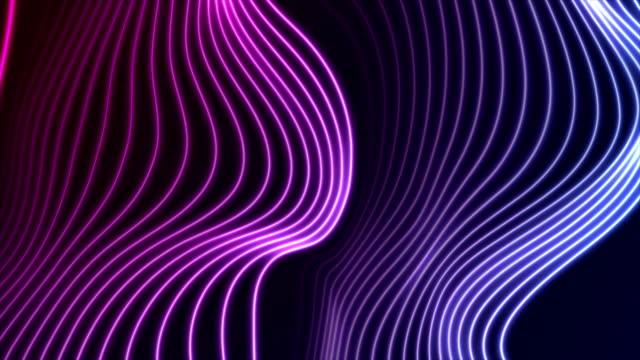 Blue ultraviolet neon curved wavy lines video animation
