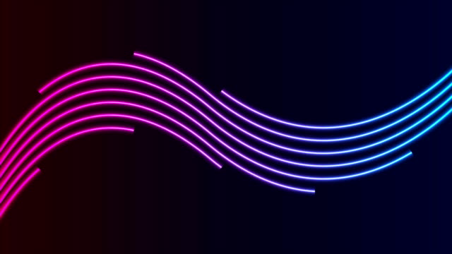 blaue ultraviolette neon gebogen wellenförmigelinien video-animation - biegung stock-videos und b-roll-filmmaterial