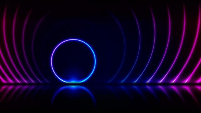 stockvideo's en b-roll-footage met blauwe ultraviolet neon laser cirkels technologie video-animatie - boog architectonisch element