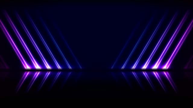 Blue ultraviolet neon laser lines technology video animation