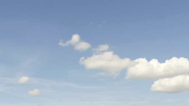 Blue unclouded sky slowly filling up with rain clouds; time lapse shot video