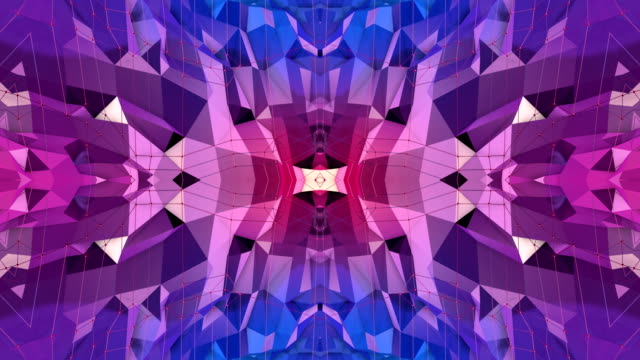 blue violet low poly geometric abstract background as a moving stained glass or kaleidoscope effect in 4k. Loop 3d animation, seamless footage in popular low poly style. V1 video