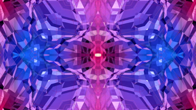 blue violet low poly geometric abstract background as a moving stained glass or kaleidoscope effect in 4k. Loop 3d animation, seamless footage in popular low poly style. V2 video
