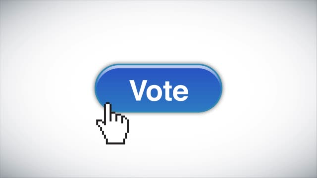 Blue Vote Web Interface Button Clicked With Mouse Cursor 4K Stock Video