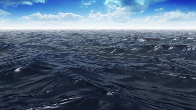 Blue Wavy Ocean Scene With Clouds video