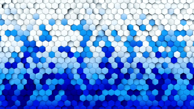 Blue white gradient hexagons turning loopable 3D animation video
