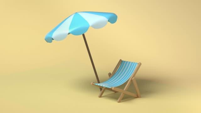 stockvideo's en b-roll-footage met blauwe witte paraplu strand en stoel 3d rendering abstract natuurstrand zee reizen vakantieconcept - sleeping illustration