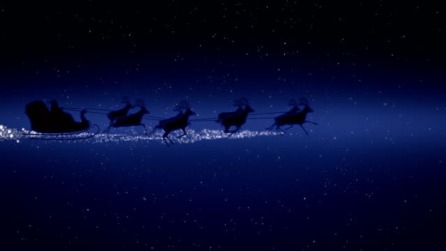blue xmas night with stars, santa claus sleight and reindeer silhouette flying showing merry christmas message with text space to place logo type or copy.animated present greeting post card 4k video - reindeer stock videos and b-roll footage