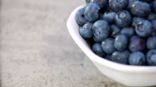 Blueberries in a bowl video