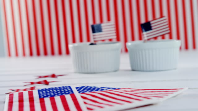 Blueberries in bowl with American flag video