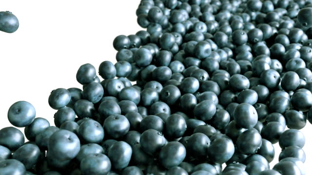 Blueberry flow with slow motion over white video