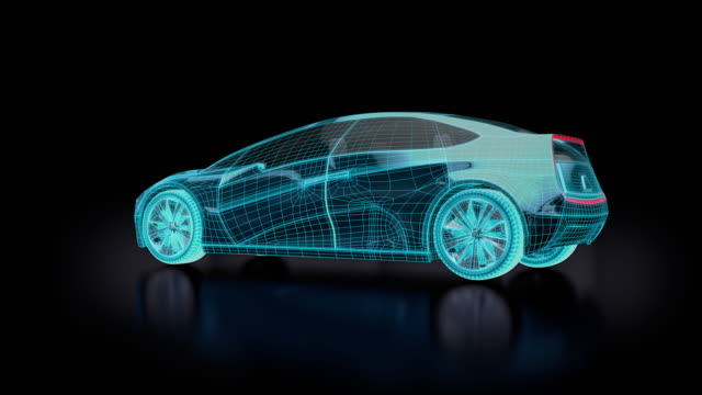 Blueprint of  futuristic electric car with blue lights. video