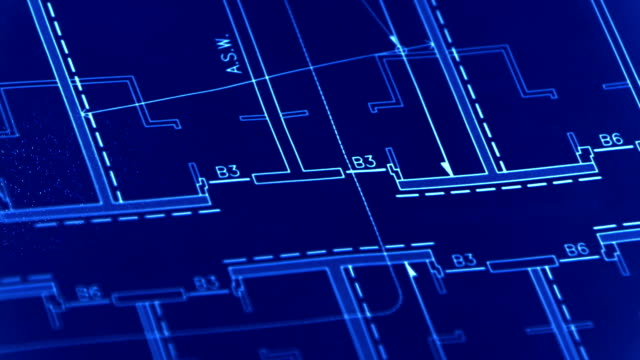 Blueprint with pencil spark trails video