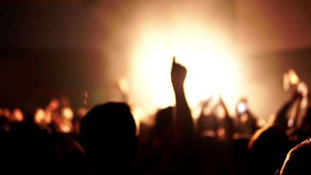 Blur footage of music festival at night club in slow motion