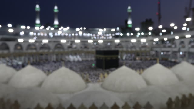 blur for background muslim pilgrims tawaf at Kaaba in Mecca in Saudi Arabia video