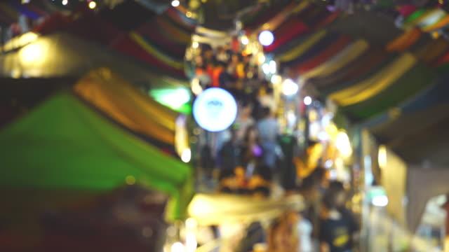 blur view night market - adulazione video stock e b–roll