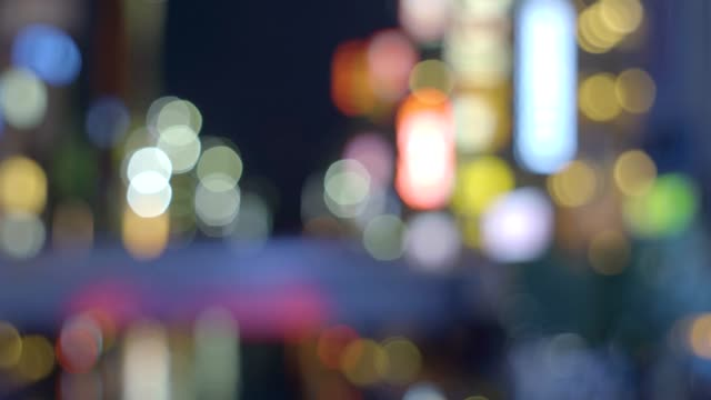 Blurred background of night illumination of Dotonbori in Osaka, Japan video