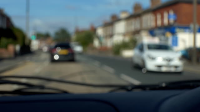 Blurred car dashboard and street view video