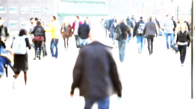 blurred commuters video