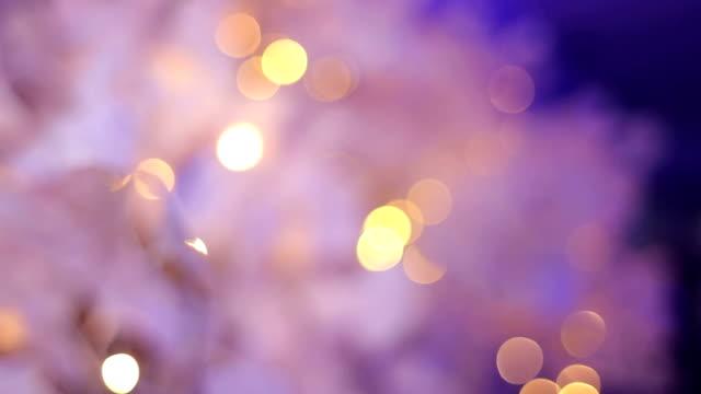 Imagen borrosa de una decoración de boda con luces. - vídeo