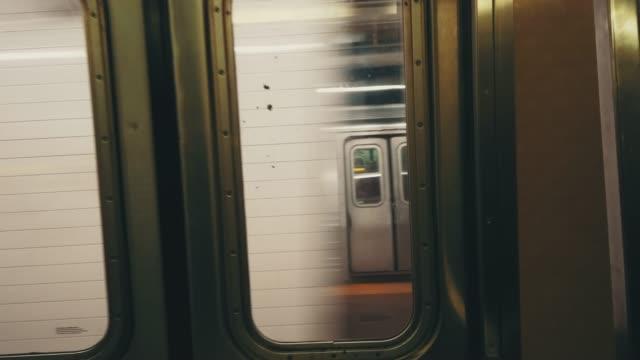 Blurred Motion of Subway Train Manhattan, New York City, USA new york city subway stock videos & royalty-free footage