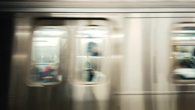 Blurred Motion of Subway Train Manhattan, New York City, USA underground stock videos & royalty-free footage