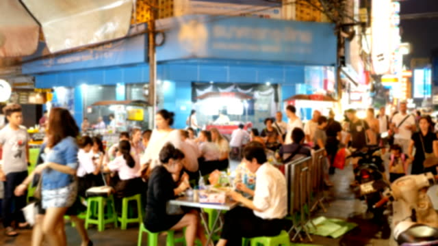 Blurred people in china town, Thailand video