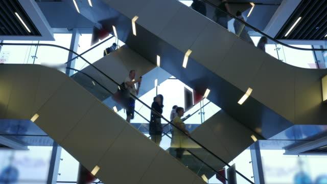 Blurred people on a escalator video